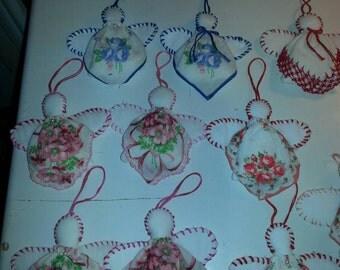 Vintage Handkerchief Angel Ornament Handmade Hand Sewn Christmas Wall Hanging Christmas Decor Christmas Tree Angel Vintage Hankie Ornament