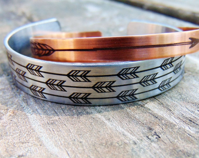 Arrow Cuff Bracelet SET -Steel & Copper Bangle- with Arrow Design Engraved, Optional Inside Custom Engraving Addon- Boho, Woodland Inspired