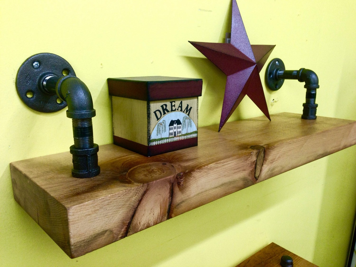 Superb img of Industrial pipe shelving Reclaimed wood shelf by TheVillageCrafts with #B9C407 color and 1500x1125 pixels