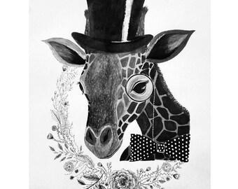 Giraffe painting and Illustration print