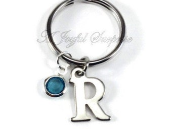 Initial Key Chain, Monogram Keychain, Initial and Birthstone Keyring, Personalized gift, letter charm dangle Personalized present