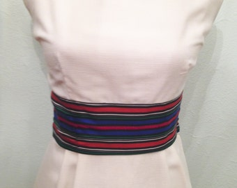 1960's White Shift Dress with Multi Colored Waistband - 1960's Dress -