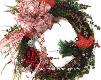 Winter Wreath, Christmas Wreath, Cardinal Wreath. Grapevine Christmas Wreath, Holiday Wreath, Whimsical Christmas, Whimsical Winter Wreath