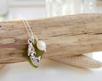 Sterling Silver Mermaid Necklace with Sea Glass and Freshwater Pearl, Mermaid Necklace, Freshwater Pearl Necklace, Sea Glass Necklace