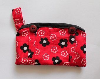 Red floral Coin Purse or Pouch