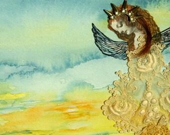 Original mixed media collage of angel/fairy