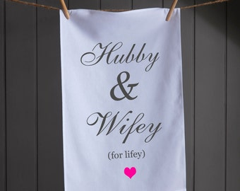 Cotton Anniversary Gift | Wedding Gift | Wedding Dish Towel |  Hubby & Wifey | Wedding Gift | 2nd Anniversary | Wedding Gifts | Tea Towel