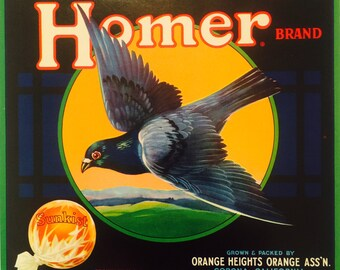 Fruit Crate Label for Homer Brand Sunkist Oranges