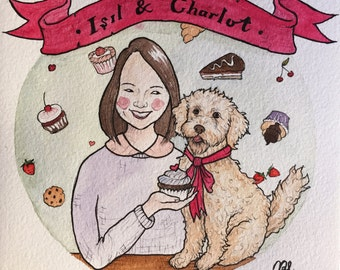 Custom Portrait of You with Your Pet (Portrait Commission)