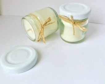 Wedding Favour mini Jar Candles / Soy wax/ reusable glass Jar / jam jars /mini favours/ weddings baby shower . White candle, Christmas gift