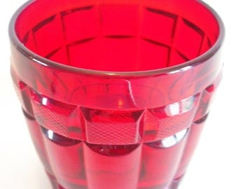 casa pupo ruby red pressed glass tumbler glass.