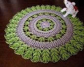 Elegant Decor Crochet Lace Doily Tablecloth, Green Clover, White Openwork, Modern Table, Crochet Decoration, Table Accessory