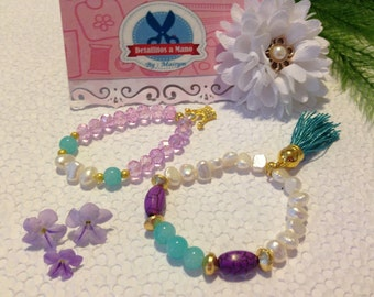 Princess of waves: Mother and Daughter Bracelet Set, blue and lavender crystals and pearls.