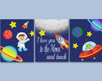 Space Kids Wall Art,Out of This World Wall Art,Astronaut Wall Art,Outerspace Wall Art,Space Room Decor,Planets Wall Art-UNFRAMED set of 3