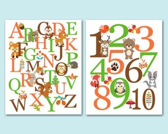 Woodland Nursery Wall Art,Woodland Wall Art,Woodland Alpahebet Wall Art,Woodland Baby Gift,Animals Alphabet-UNFRAMED