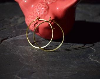 """Gold Hoop Earrings, Hammered Gold Hoop Earrings, 1"""" Hoop Earrings"""