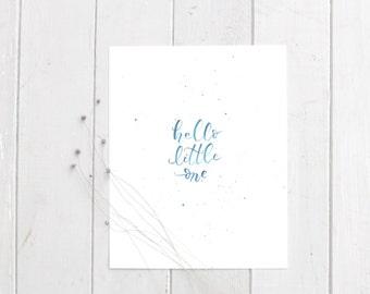Art Print- Hello Little One- Hand Drawn/ Painted Print - Home Decor- Dark Blue Painted Print