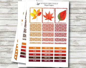 Fall Colours : planner sticker kit (4 pages) made to fit Erin Condren planners
