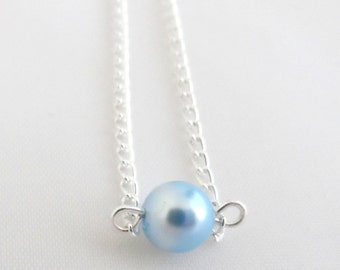 Light Blue Pearl Necklace - Blue Floating Necklace - Single Blue Pearl Necklace