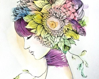 Flora fashion Illustration portrait watercolor drawing home decor