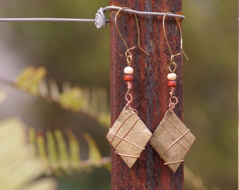 Brass and copper geometric earrings