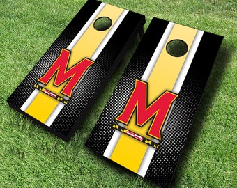 Officially Licensed Maryland Terrapins Striped Cornhole Set with Bags - Bean Bag Toss - Maryland Cornhole - Corn Toss - Corn hole