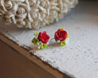 Flower earrings, handmade earrings, handmade jewelry, flower studs, small earrings, bridesmaid, gift to her, polymer clay flower earrings