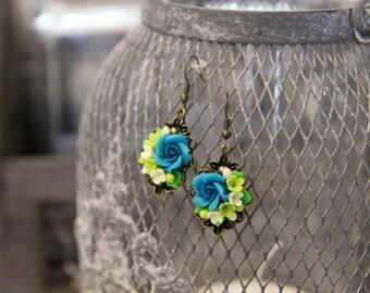 Dangle flower earrings, handmade jewelry, gift for her, flower earrings, bridesmaid, ball earrings, wedding accessories, birthday gift