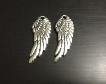 Wing Charms -10pcs Antique Silver Bird Wings Charm Pendants 10x27mm WAB402-1