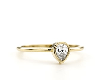 Pear Diamond Solitaire ring - Pear Engagement Ring - Simple Ring