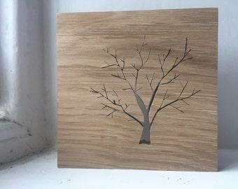 Wooden Oak Tree Silhouette