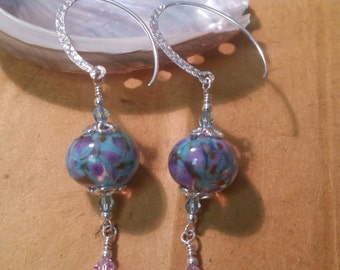 Blue and Purple Handmade Lampwork Earrings