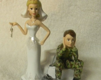 Wedding Reception Ceremony Ball and Chain Camo Hunter Hunting Cake Topper