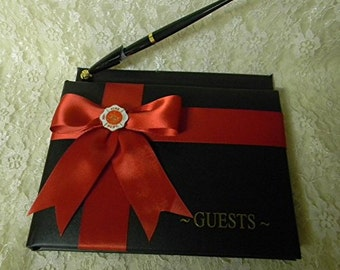 Wedding Reception Ceremony Party  Fireman Firefighter Guest Book and Pen
