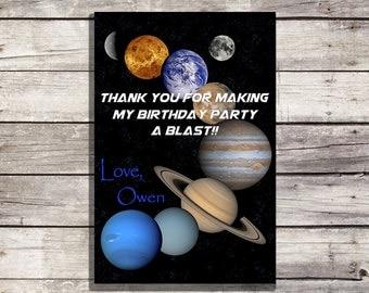 Planet Thank You Card, Space Printable Thank You Card, Space Thank You Card, Space Birthday Thank You Card (Astronaut, Rocket, Alien)