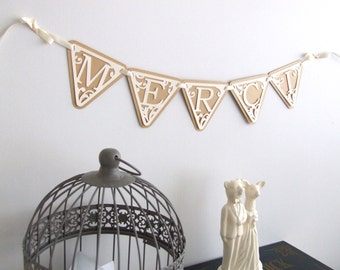 "Banner flags ""Thank you"" in kraft paper and ivory, lace effect"