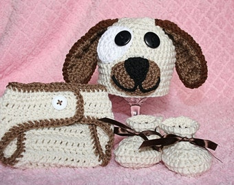Puppy Beanie and Diaper Cover Set