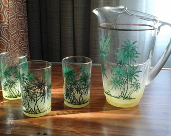 Pitcher and Glasses Set, Vintage Tropical Juice Set, Palm Trees and Yellow Ombre Set