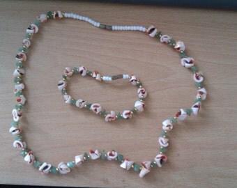 vintage shell necklace and bracelet