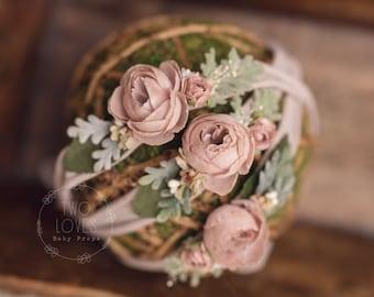 Newborn or Toddler pink sage pastel natural Organic tieback  headband - photography prop organic flower crown