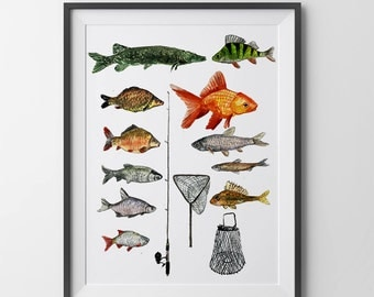 Lake house decor.Lake house wall decor.Lake house wall art.Lake house print.Fishing print.Fishing watercolor art print.Fishing lover gift