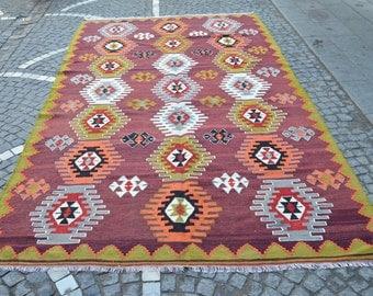 Vintage Handmade wool kilim. Turkish kilim rug. Free shipping. 11.5 x 6.6 feet. (3.51 x 2.03 cm)