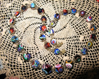 Vintage Millefiori Venentian Glass Bead Necklace