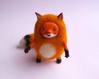 Needle felted fox, needle felted animal, red fox, soft doll, wool felt, needle felting, art doll animal, handmade, cute, lovely