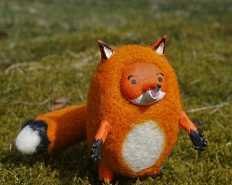 Needle felted fox, needle felted animal, red fox, soft doll, wool felt, needle felting, art doll animal, handmade, cute, lovely