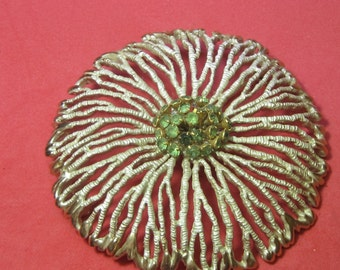 Antique Vintage Costume Brooch Flower with Green Beads