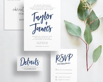 watercolor brush lettering wedding invites // navy blue watercolor // hand lettering // PRINTED wedding invites // custom