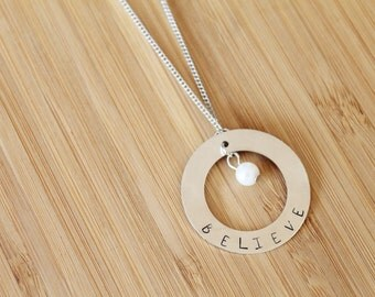 custom stamped large washer necklace