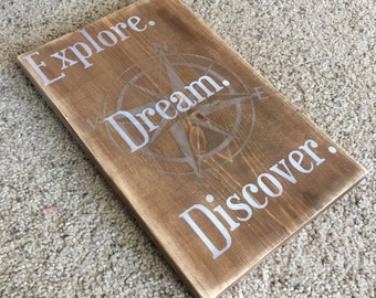 Explore Dream Discover Wooden Travel Sign - Wanderlust