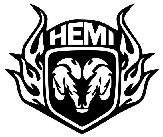 dodge ram logo with hemi flames vinyl decal rear window truck decal sticker laptop available on hot topic decals - Dodge Ram Logo